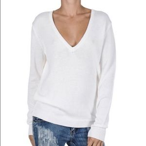One Teaspoon Oxford V Neck Knit Sweater In White
